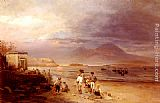 Famous Fishermen Paintings - Fishermen with the Bay of Naples and Vesuvius beyond