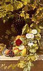 Otto Didrik Ottesen - A Still Life With Fruit, Flowers And A Vase