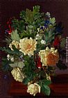 Yellow Wall Art - A Still Life With Yellow Roses And Freesia
