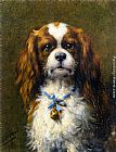 Otto Eerelman - A King Charles Spaniel with a Blue Ribon