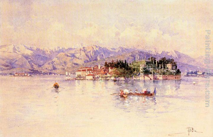 Paolo Sala Boating on Lago Maggiore, Isola Bella beyond