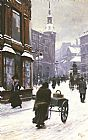 Street Canvas Paintings - A Street Scene In Winter, Copenhagen