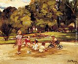 Famous Playing Paintings - Children Playing In A Park