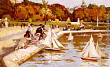 Paul Michel Dupuy Children Sailing Their Boats in the Luxembourg Gardens, Paris painting