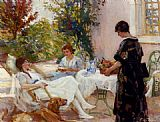 Paul Michel Dupuy Teatime painting