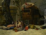Peeter Boel - Still Life with Dead Game and Songbirds in the Snow