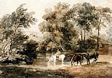 Peter de Wint - Horses Drinking At A Pool