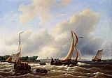 Petrus Jan Schotel - Sailing Vessels On The Zuiderzee