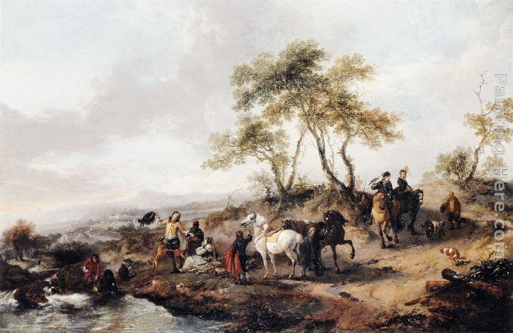 Philips Wouwerman The Halt of the Hunting Party painting | framed ...