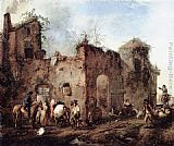 Philips Wouwerman Courtyard with a Farrier Shoeing a Horse painting