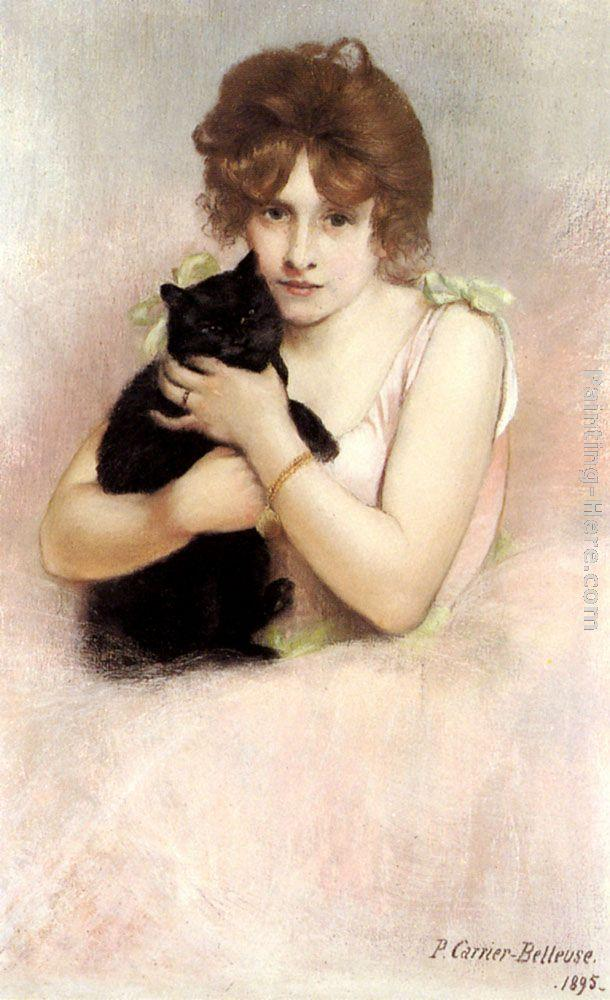 Pierre Carrier-Belleuse Young Ballerina holding a Black Cat