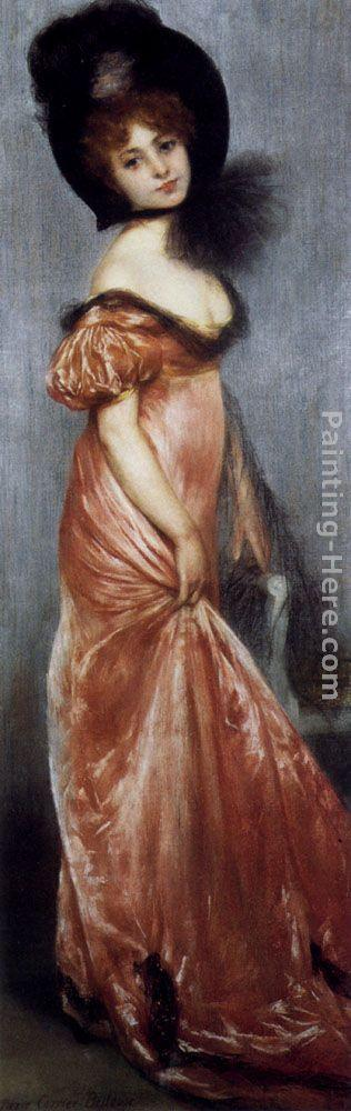 Pierre Carrier-Belleuse Young Girl In A Pink Dress