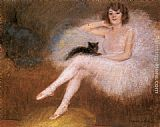 Famous Cat Paintings - Ballerina with a black Cat