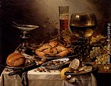 Pieter Claesz - Banquet Still Life With A Crab On A Silver Platter, A Bunch Of Grapes, A Bowl Of Olives, And A Peeled Lemon All Resting On A Draped Table
