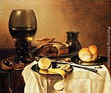 Famous Pie Paintings - Breakfast Still Life With Roemer, Meat Pie, Lemon And Bread