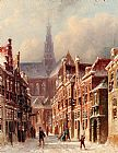 Street Canvas Paintings - A Snowy Street With The St. Bavo Beyond, Haarlem