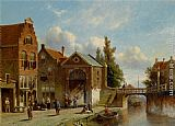 Town Canvas Paintings - Figures in the Quay of a Dutch Town