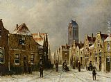 Town Canvas Paintings - Figures in the streets of a snow covered dutch town