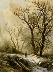Pieter Lodewijk Francisco Kluyver - A Figure in a Snowy Forest Landscape