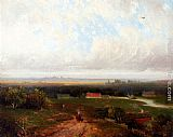 Pieter Lodewijk Francisco Kluyver - A Panoramic View Of Haaelem With Figures On A Track In Kraantje Lek In The Foreground