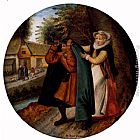 Pieter the Younger Brueghel - A Flemish Proverb 'A Wife Hiding Her Infidelity From Her Husband Under A Blue Cloak'