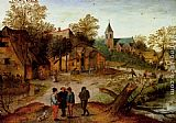 Pieter the Younger Brueghel - A Village Landscape With Farmers