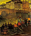 Town Canvas Paintings - Fisherfolk In A Harbour Town