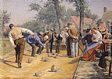 Remy Cogghe - A Game of Bowls in the Village Square