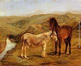 Rosa Bonheur - A Horse And Donkey In A Hilly Landscape