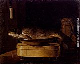 Sebastien Stoskopff - Still Life Of A Carp In A Bowl Placed On A Wooden Box, All Resting On A Table