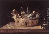 Sebastien Stoskopff - Still-Life of Glasses in a Basket