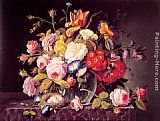 Severin Roesen - Still Life with Flowers