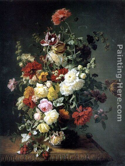 Simon Saint-Jean A Still life with Flowers and Wild Raspberries