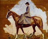 Sir Alfred James Munnings - Lady Munnings On Horseback