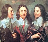 Sir Antony Van Dyck Canvas Paintings - Charles I in Three Positions