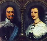 Sir Antony Van Dyck Canvas Paintings - Charles I of England and Henrietta of France