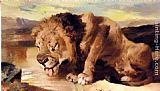 Sir Edwin Henry Landseer - Lion Drinking At A Stream