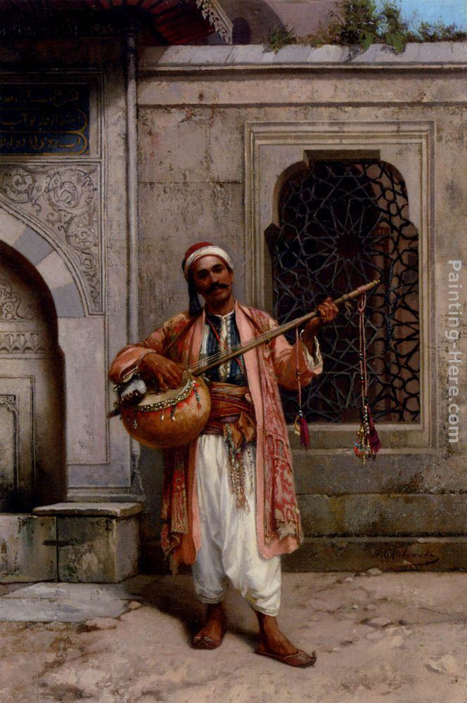 Stanislaus von Chlebowski A Musician Playing Before A Mosque In Constantinople