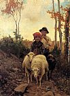Path Canvas Paintings - Children With Sheep On A Path