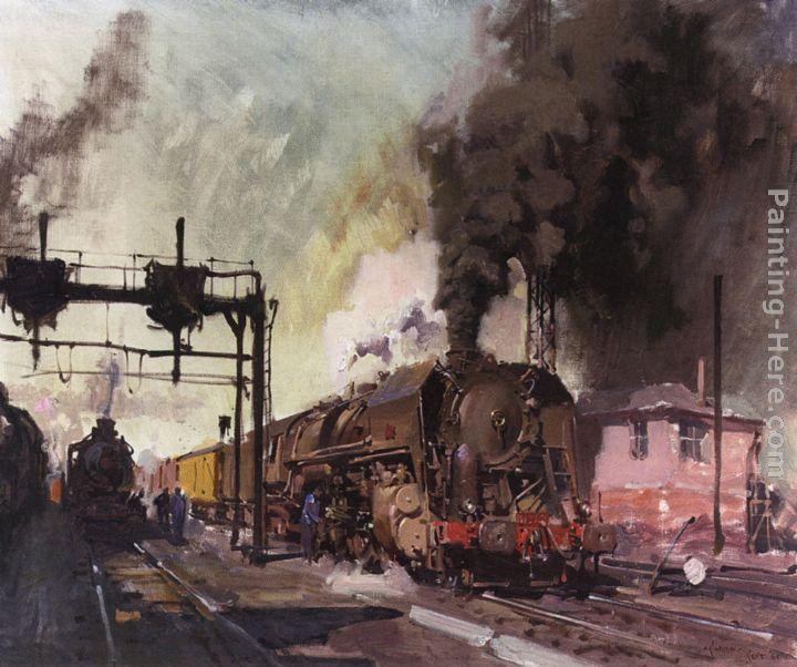 Terence Tenison Cuneo Trains In The Yard