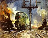 Terence Tenison Cuneo Night Freight (Condor) painting