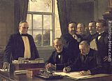 Famous Peace Paintings - The Signing of the Protocol of Peace Between the United States and Spain on August 12, 1898