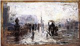 Street Canvas Paintings - Street Scene with Carriage
