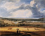 Thomas Girtin Famous Paintings - Alnwick Castle from Brizlee, Northumberland
