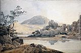 Thomas Girtin Famous Paintings - Castle Conway (after Sir George Beaumont)