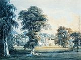 Thomas Girtin Famous Paintings - Chalfont House, Buckinghamshire, with a Shepherdess