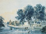 Thomas Girtin Canvas Paintings - Chalfont House, Buckinghamshire, with fishermen netting the Broadwater