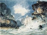 Thomas Girtin Famous Paintings - Dunnottar Castle Scotland in a Thunderstorm (after James Moore)
