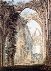 Thomas Girtin Famous Paintings - Interior of Tintern Abbey looking toward the West Window