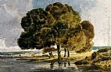 Famous Trees Paintings - Trees On A Riverbank
